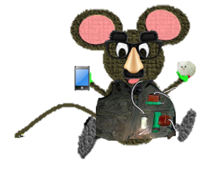 mouse in vest with phone and cat